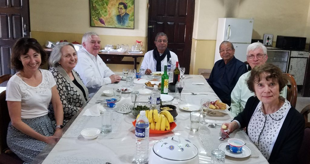 CROPPED A 2 Lunch today with Bishop Dabre and retired bishop Valerian D'Souza – one of the best lunches we had. Usually food in a bishop's house is pretty good.