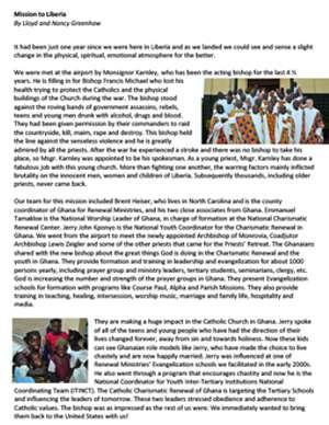 Liberia Field Report 2010