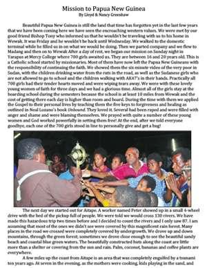 Papua New Guinea Field Report 2009