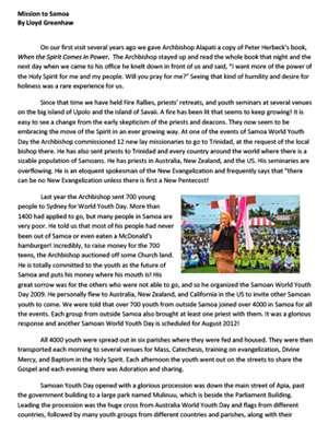 Samoa Field Report 2009
